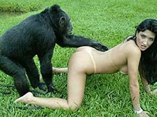 Horny girl with monkey